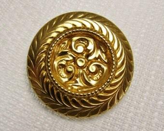 "Bold, Gold: 1-1/2"" (38mm) Large Vintage 2-Part Metal Button"