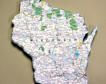 WISCONSIN State Vintage National Geographic Map Wall Decor (Small size)