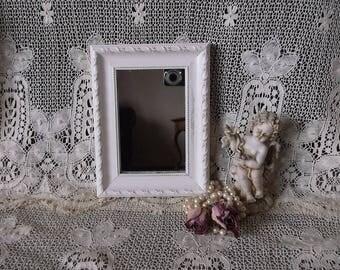 Shabby white, farmhouse small mirror, wall mirror, repurposed vintage wood frame