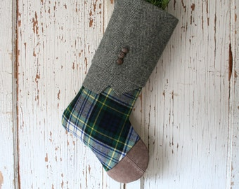 Gray Tweed, Tartan CHRISTMAS STOCKING, Masculine Style, Suede Toe