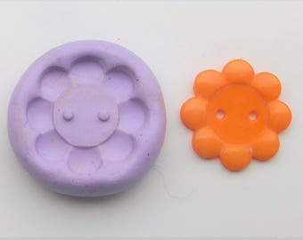 Flower button Mold #1492 - silicone  mold, craft mold, porcelain mold, jewelry mold, charm mold, metal mold, clays mold, flexible mold