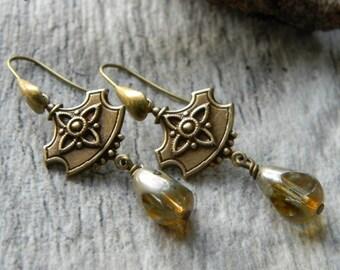 Dangle earrings elegant brass and glass earrings shield earrings champagne glass unique gift for her wedding jewelry handmade beaded earring