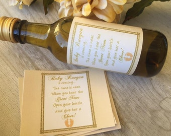 Mini Wine Bottle labels, Baby Shower or delivery gifts, Welcome Baby wine  labels, Personalized Baby Shower Wine Labels. Set of 9.