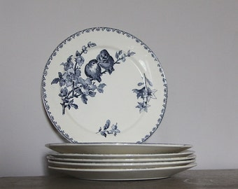 Antique French Faience Blue Transferware Favori Plate Sarreguemines