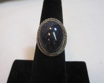 Black Glitter Goldstone Sterling Ring
