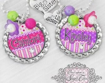 Big SISTER Little SISTER Necklaces, Personalized Name Bottle Cap Necklace, Big Sister Charm, Little Sister Charm, Birthday, Gift, New Sister