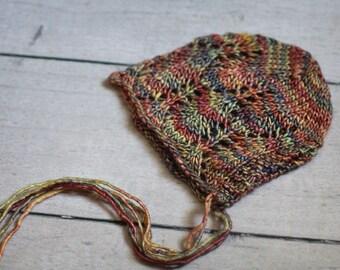 Sitter Lace Bonnet / Fall Leaves Bonnet / 6-12 months