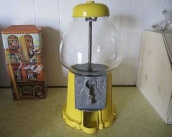 Yellow Gumball Machine Glass Top Metal Bottom