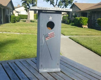 bird house,rustic birdhouse,patriotic birdhouse,americana,primitive birdhouse,unique birdhouse,4th of july,fathers day gift,flag,whimsical