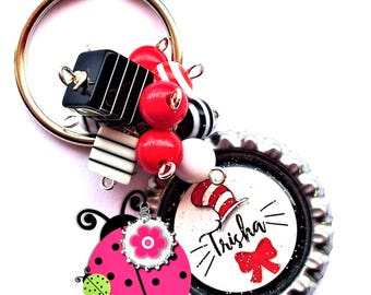 Cat In the Hat Dr Seuss Inspired Teachers Beaded Bottle Cap Key Chain -  Personalized - Made to order - 6 Designs to Chose from