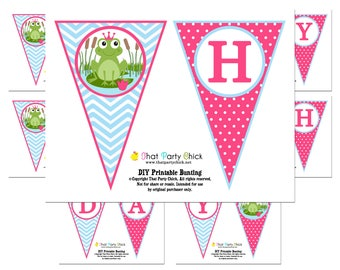 Frog Princess Happy Birthday Banner Printable - Instant Download - - Frog Princess Collection