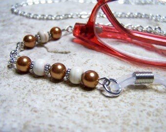 Pearl, Eyeglass Chain, on a Silver Chain, 27 Inch Eyeglass Necklace, Eyewear Accessorie,