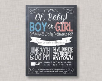 Gender Reveal Invitation, Gender Reveal Party, Gender Reveal Invite, Chalkboard