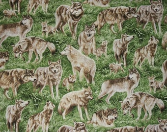 Wolf Fabric, Wildlife Fabric, By The Yard, Fabri Quilt Fabrics, American Wildlife Collections, Quilting Sewing Fabric, Nature Fabric