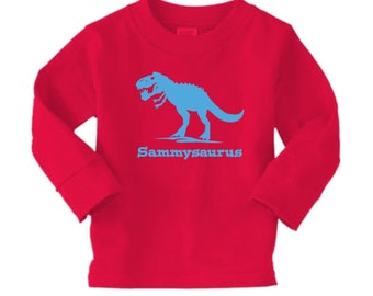 trex dinosaur long sleeved shirt - any name - pick your colors!