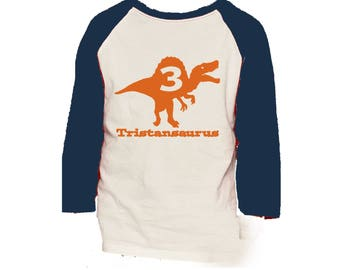 Spinosaurus Dinosaur Birthday Shirt -3/4 or long sleeve relaxed fit raglan baseball shirt - Any age and name - pick your colors!