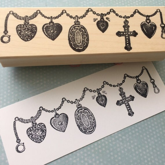 Locket Chain Wood Mounted Rubber Stamp 5626