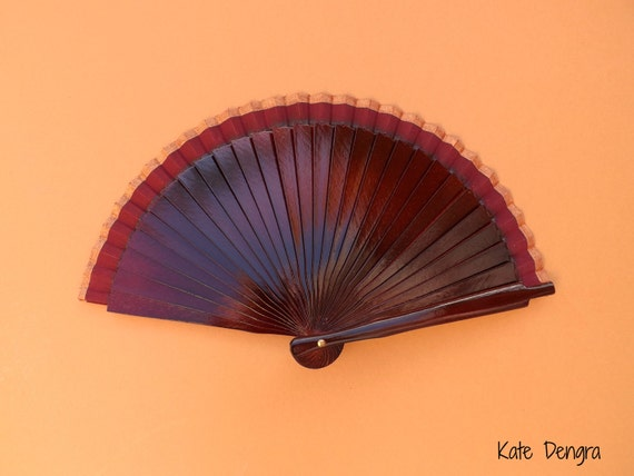 Burgundy Bronze Border Man Fan Wood Folding Hand Fan SIZE OPTIONS Spanish Wooden Hand Held Fan Male Accessory