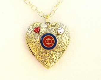 Chicago Cubs Locket, Baseball Necklace
