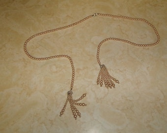 vintage necklace faux pearls open end dangles