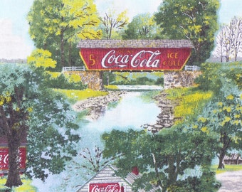 Coca Cola Fabric, Coca Cola Ads, Coca Cola Scenes, Vintage Scenes, Coca Cola, Vintage Style, By the Yard, Cotton Fabric, Ads on Buildings