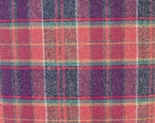 Red and Blue Plaid Worsted Wool Fabric, 100 Percent Worsted Wool, 1 yard cut