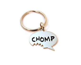 Chomp Bite Me Keychain - Cute Foodie Zipper Pull - Chomp Speech Bubble Charm - Funny Food Lover Gift - Gift Under 10 - Ready to Ship