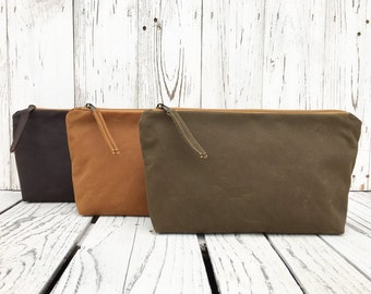 Vegan Waxed Canvas Travel Bag, Large Zipper Toiletry Bag, Vegan Make Up Case, Cosmetic Storage, Unisex Coin Purse, Water Repellent Pouch