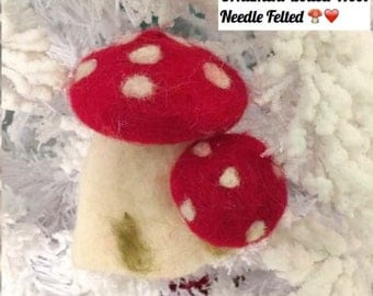 Handmade Red Mushroom Ornament Boiled Wool Needle Felted 5inch tall made in the USA