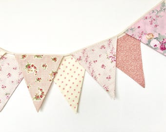 Pastel Shabby Chic Fabric Banners, Bunting, Garland, Wedding Bunting, Flags, Brush Pink, Peach - 3 yards (8th version)