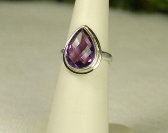 Amethyst Ring, Size 6, Natural Purple, Checkerboard Cut, 5.2Cts, Pear Shape Amethyst, Sterling Silver, February Birthstone, Purple Amethyst