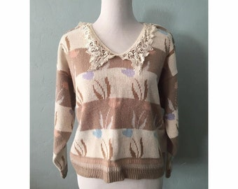 Vintage Lace Collared Granny Sweater