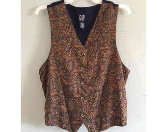 90's Paisley Vest, Women's S-M