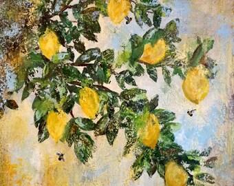 Original Impressionist Painting Lemon Tree and Bees