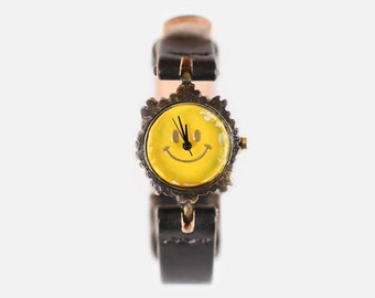 Vintage Steampunk Handmade Wrist Watch with Handstitch Leather Band /// YellowSmile - Perfect Gift for Birthday, Anniversary