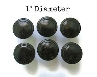 "6 Vintage Art Deco or MCM Bakelite Drawer Knobs 1"" diameter - Small single screw - Black plastic - Lot or Set of 6 handles Stepped"