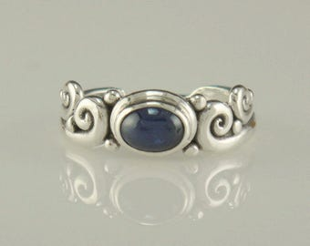 R985- Sterling Silver Blue Sapphire Cab Ring- One of a Kind