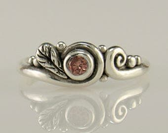 R1037- Sterling Silver Pink Diamond Ring- One of a Kind