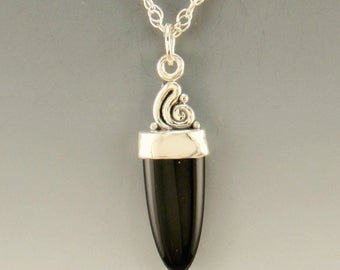 P719- Sterling Silver Black Onyx Pendant- One of a kind