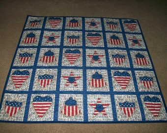 """Quilted Throw or Table Topper made with """"Home of the Brave' Fabric by Daisy Kingdom"""