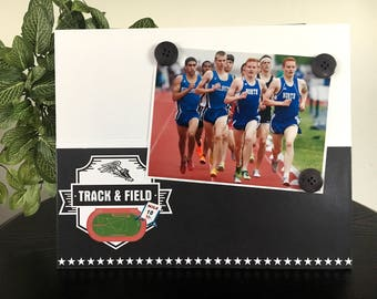 "Track and Field Sports buttons sports coach team mom dad athlete gift handmade magnetic picture frame holds 5"" x 7"" photo 9"" x 11"" size"