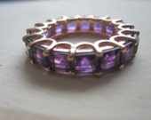Gorgeous Brazilian Purple Amethyst Gemstone Eternity Ring With 14K Rose Gold Band Size 6