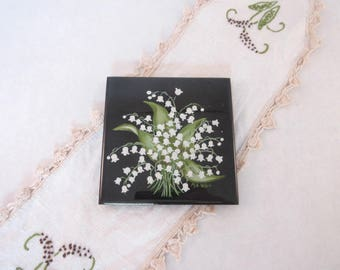Vintage Ceramic Art Tile Lily of the Valley Hand Painted Signed by Artist May Gift