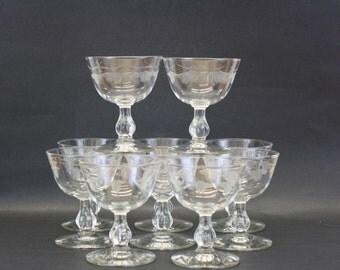 Vintage Etched Leaf Art Nouveau Wine Glasses, Set of 12 (E8291)