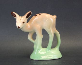 Vintage Shy Fawn Standing in Grass Patch Figurine (E8443)