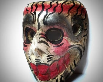 Vintage mexican Skeleton Mask. Mexican Day of the Dead Mask. Folk Art Wood Mask .
