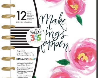 Big Happy Planner MAKE THINGS HAPPEN Me & My Big Ideas 12 mos Polaroid Snap Album Laminated Covers Divider inserts Calendar pages Create 365