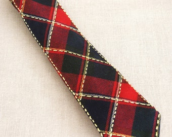 Plaid Ties, Mens Tie, Hand Embroidered Mans Necktie, Red and Navy, Preppy, Neck wear, Handmade, OOAK, Wil Shepherd, Upcycled, Vintage, Wool