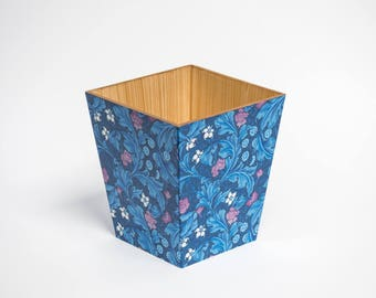 Blue Leicester Waste Paper Bin Trash Can Handmade Wooden
