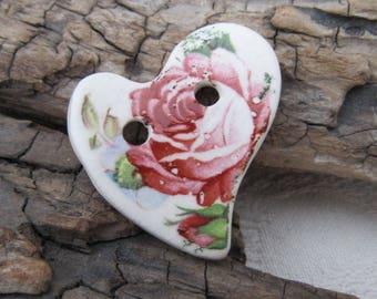 Tea Rose Flower Folk Heart Ceramic Button